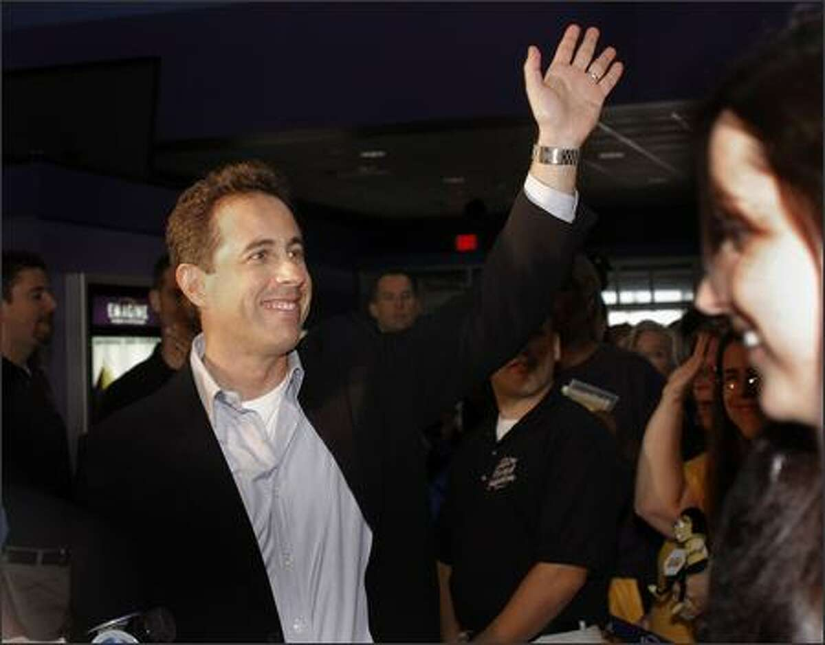Comedian and actor Jerry Seinfeld makes an appearance to promote his new movie,