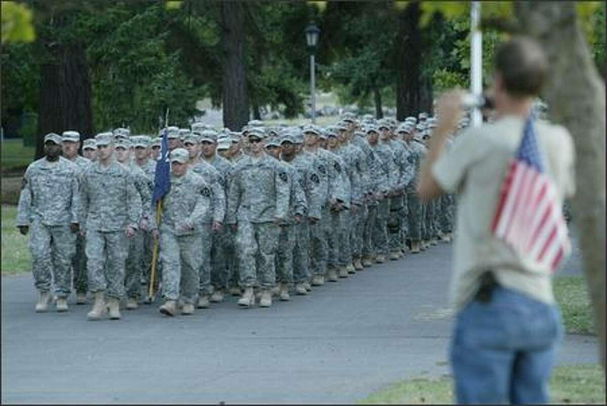 Members of the Stryker Brigade return to Fort Lewis.
