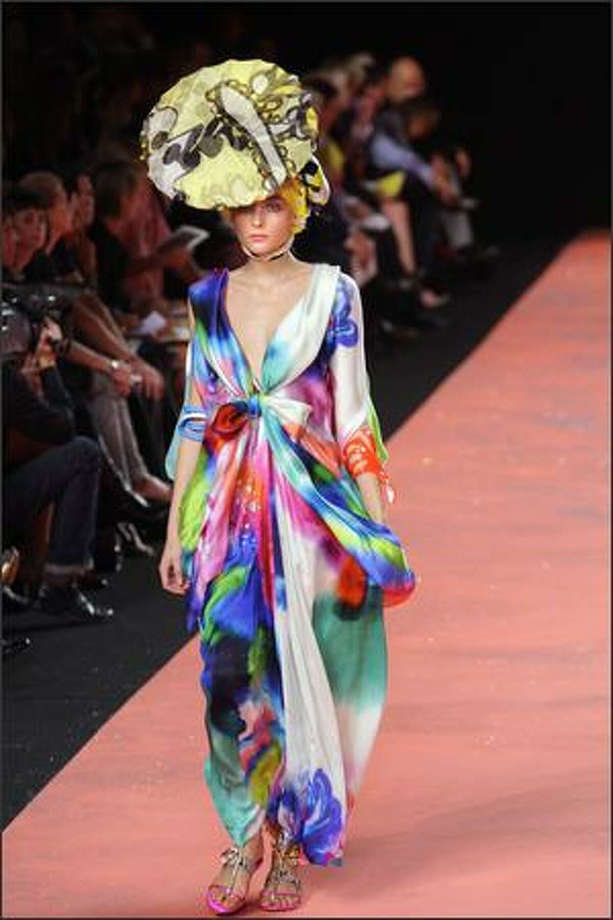 A model presents a creation by Christian Lacroix.