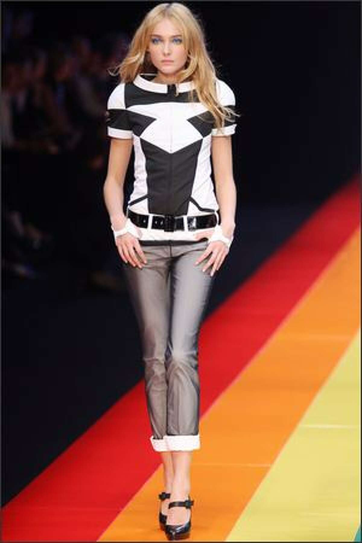 A model presents a creaton by Karl Lagerfeld.