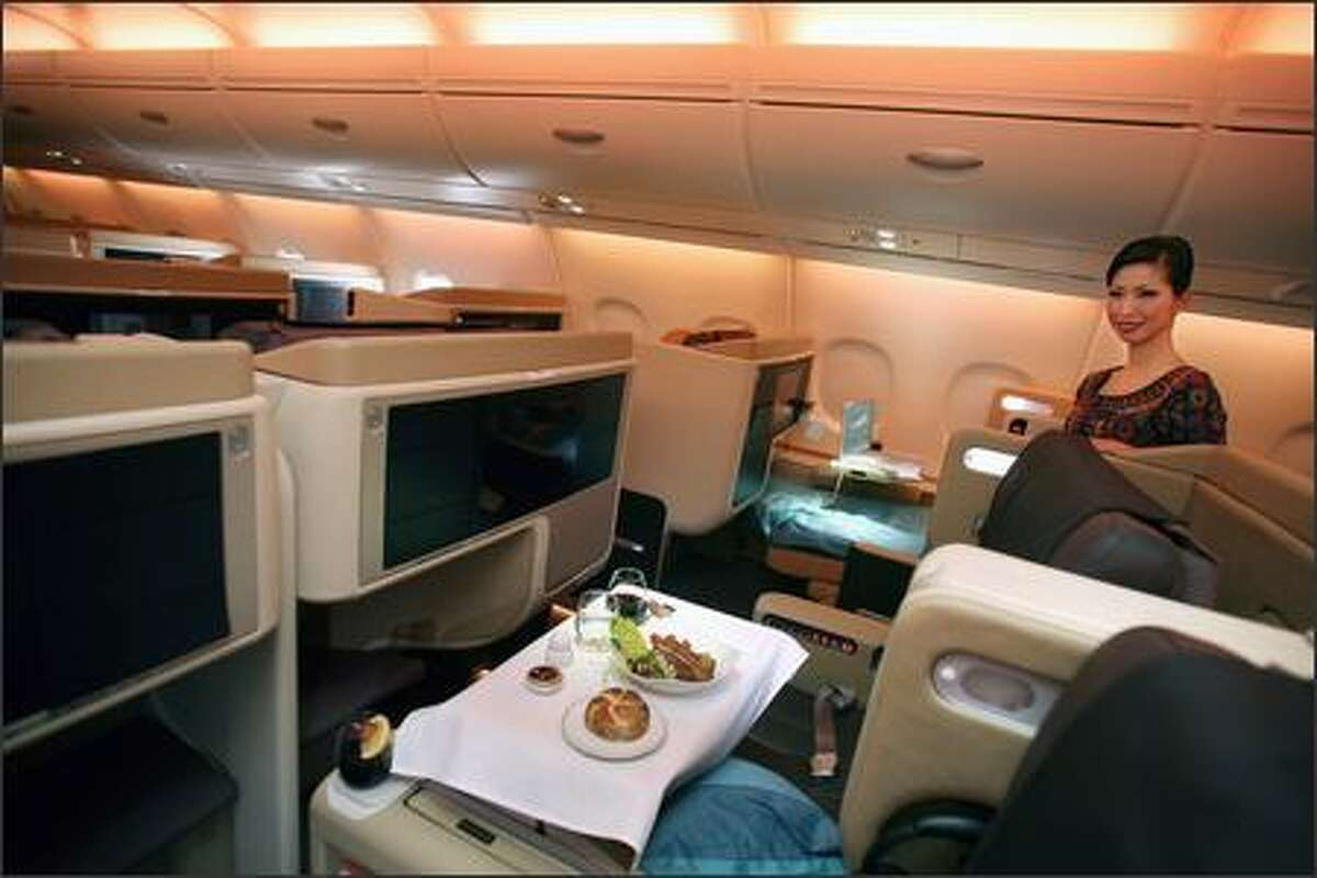 View of the inside of the first of 19 Airbus A380 aircrafts to be delivered to Singapore International Airlines.
