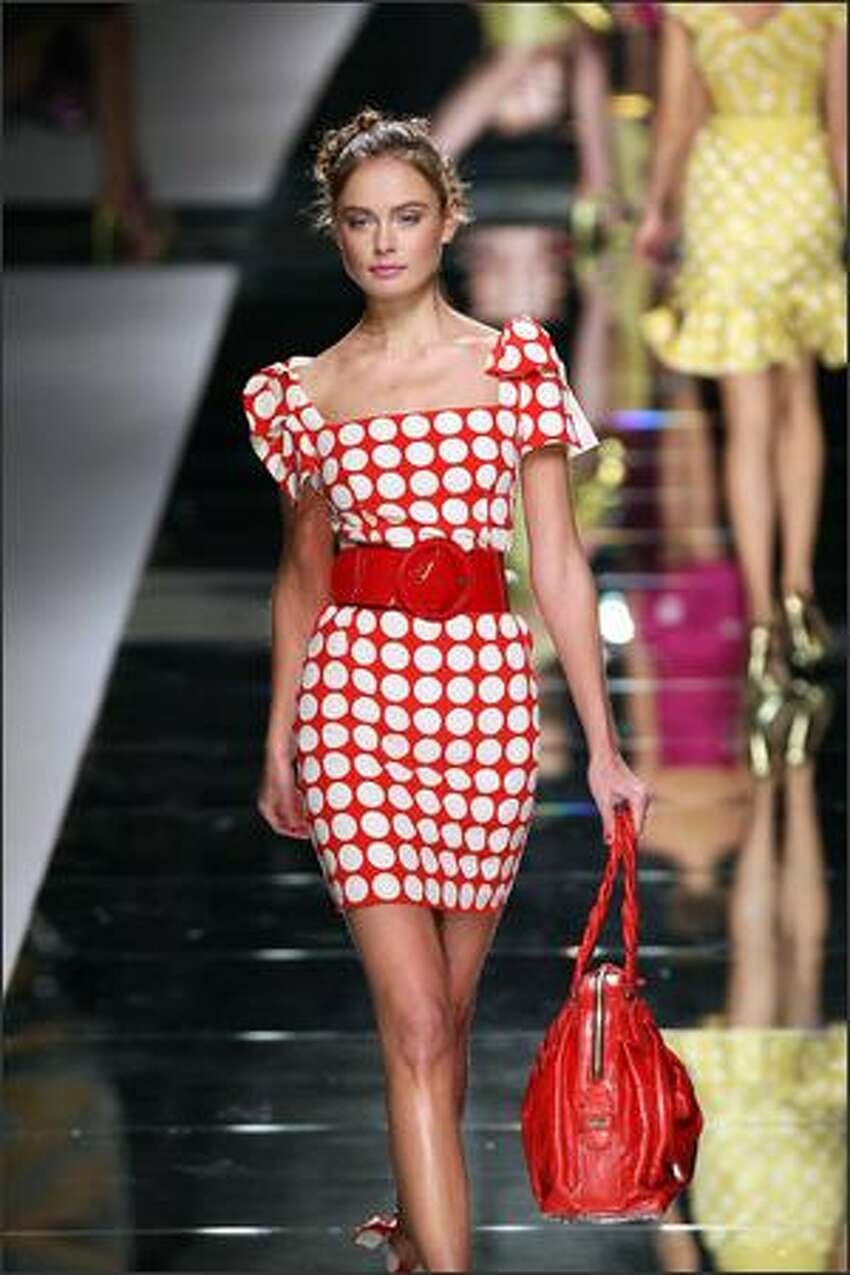 A model presents a creation by Valentino.