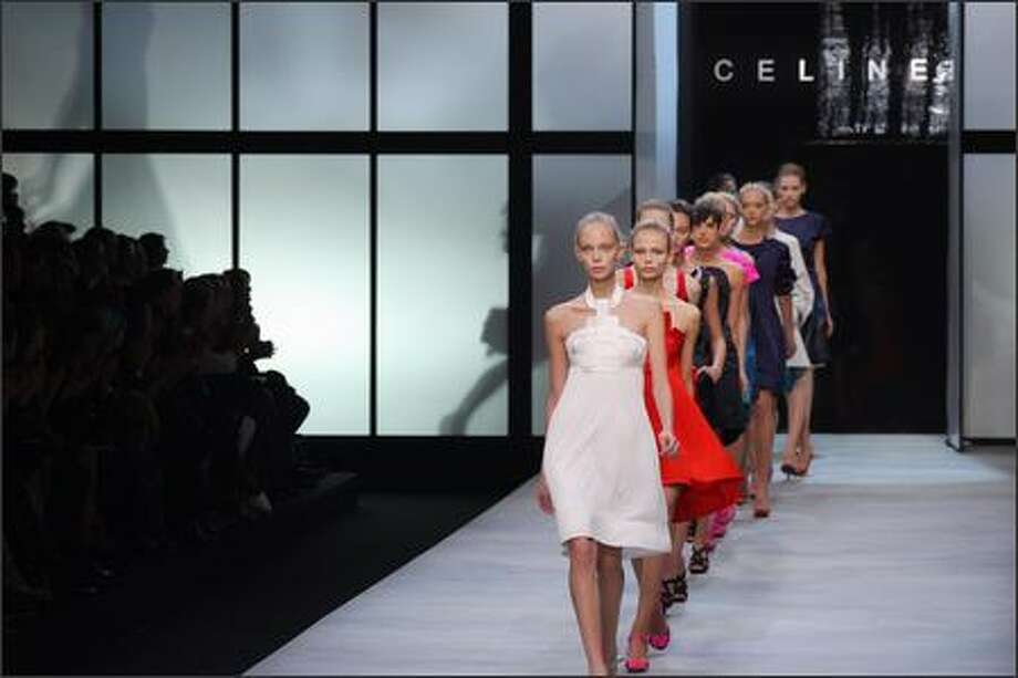 Models present creations by Croatian designer Ivana Omazic for Celine during Spring/Summer 2008 ready-to-wear collection show in Paris. Photo: Getty Images