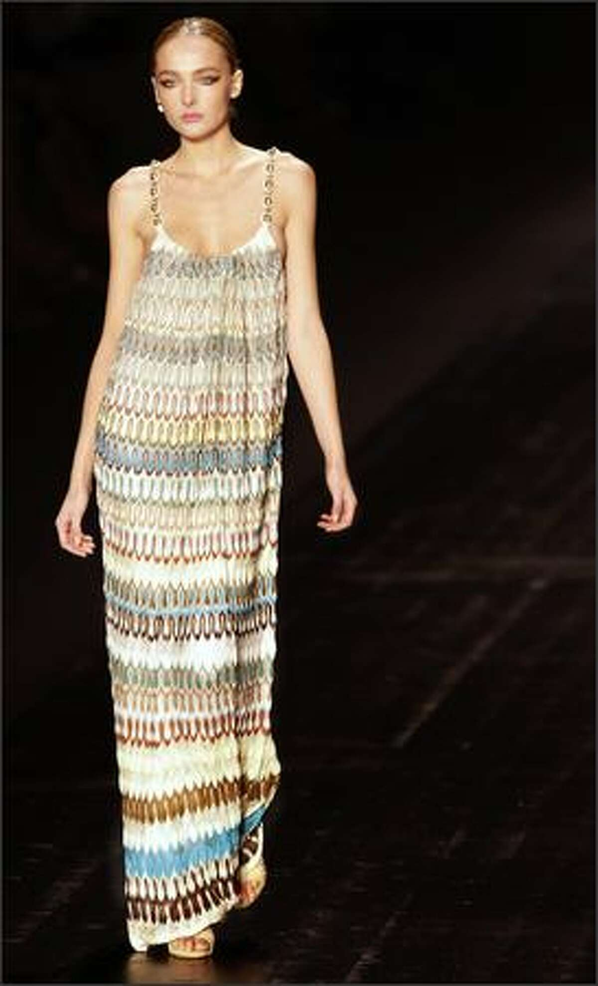 A model presents a creation by Italian designer Angela Missoni.
