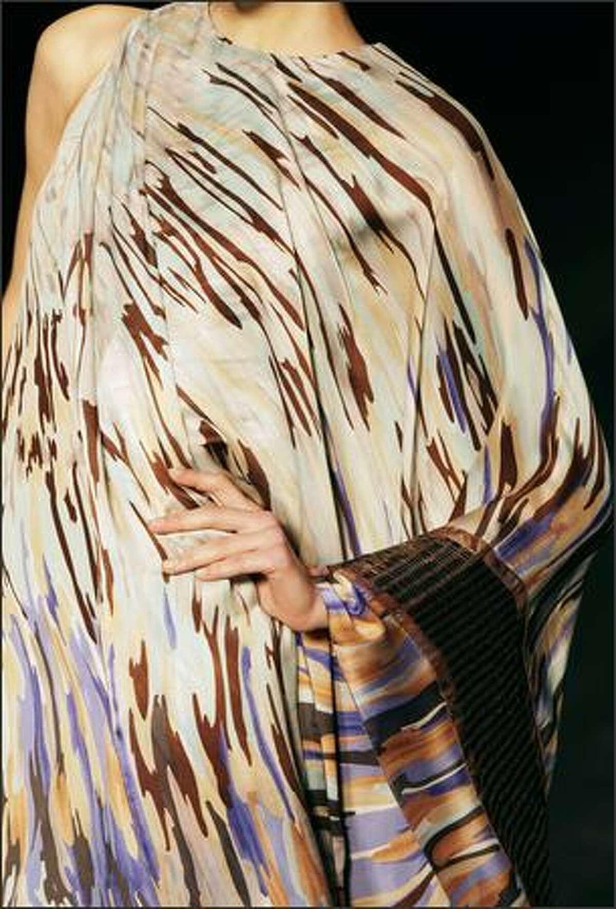 A model presents a creation by Italian designer Angela Missoni.