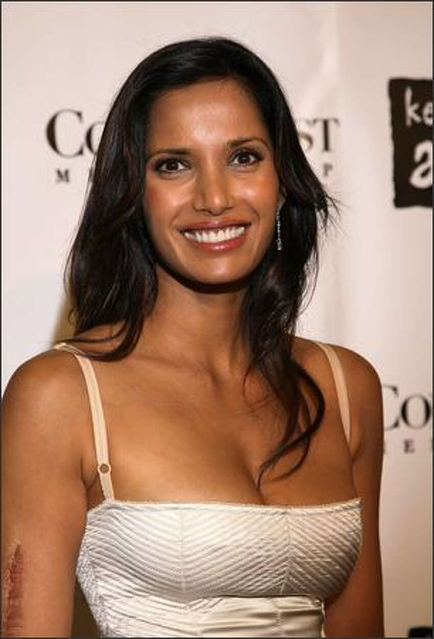 TV personality Padma Lakshmi arrives at the 4th Annual Black Ball concert for Keep a Child Alive (KCA) presented by the Conde Nast Media Group at Hammerstein Ballroom in New York City.