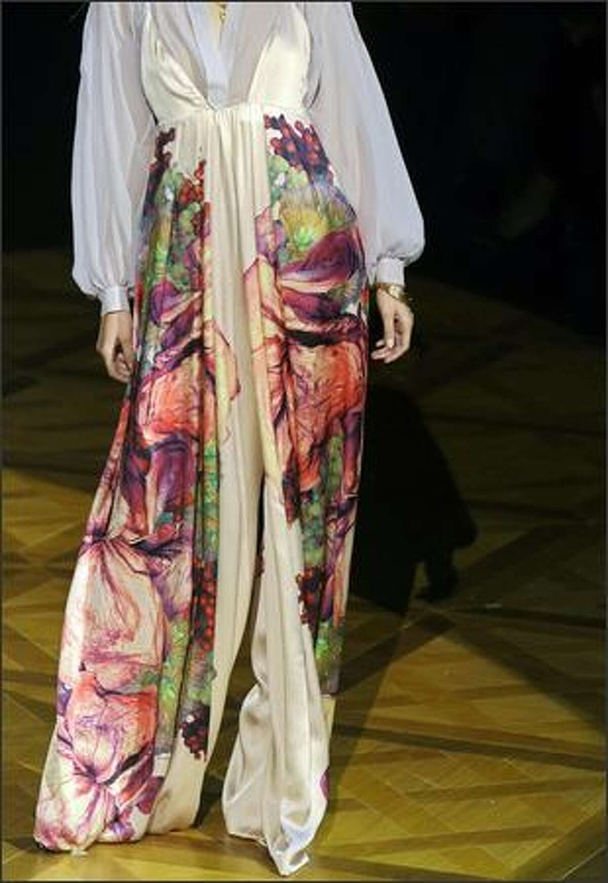 A model presents a creation by Roberto Cavalli.