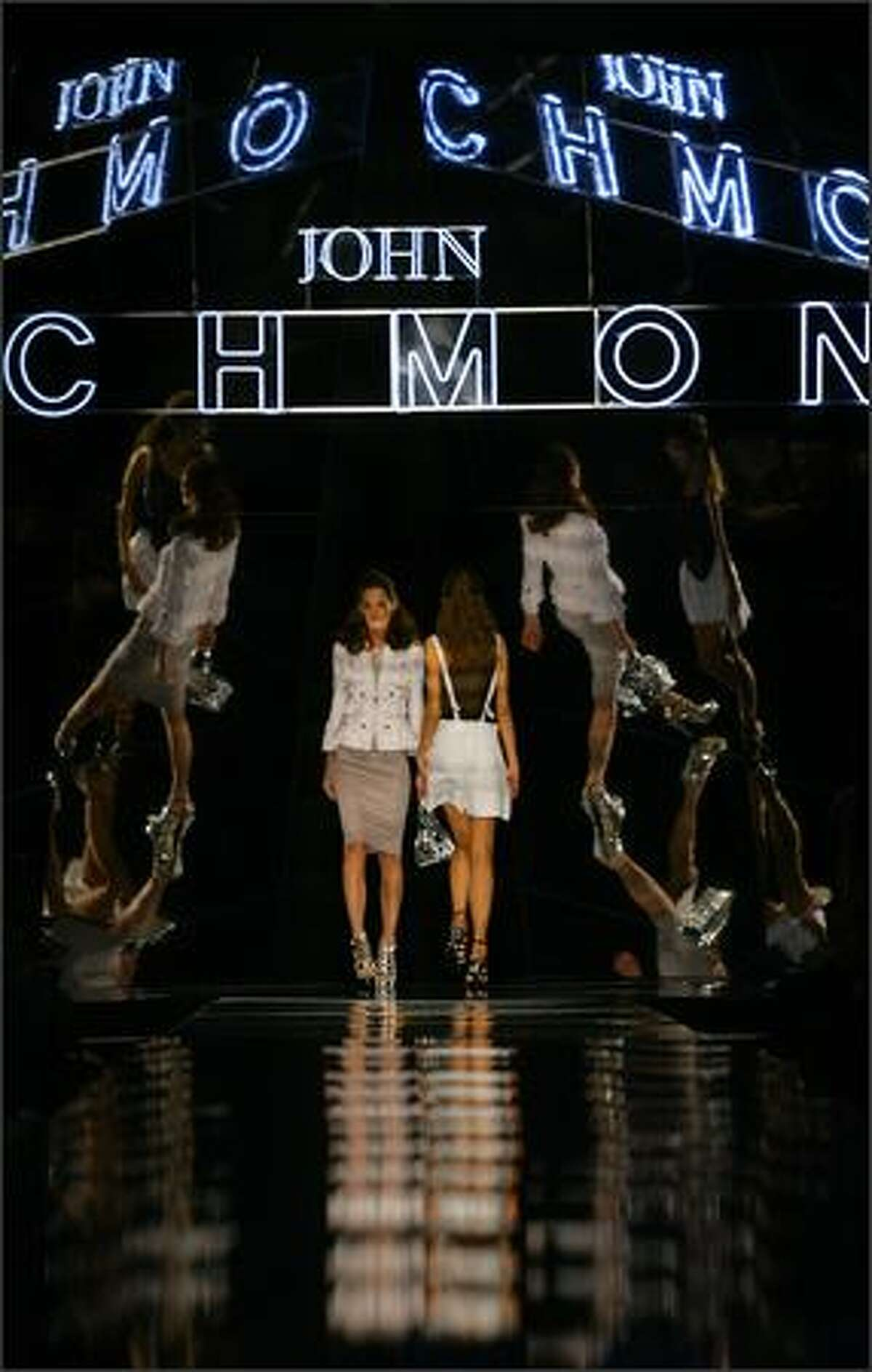 A model presents a creation by British designer John Richmond during the Spring/Summer 2008 collections of the Milan ready-to-wear fashion shows.