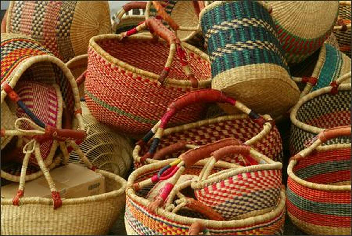 A selection of Sudanese baskets were available for sale to help raise funds to stop the genocide in Darfur.
