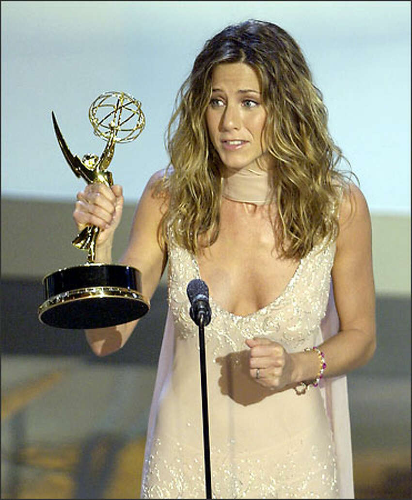Jennifer Aniston accepts her Emmy for outstanding lead actress in a comedy series for her work in