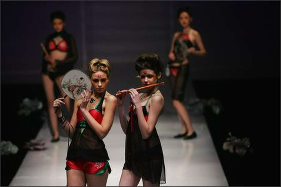 "Models walk the runway during ""Ordifen Cup"" 2007 Lingerie Innovative Design Contest at the China International Fashion Week Spring/Summer 2008 on November 6, 2007 in Beijing, China. Photo: Getty Images"