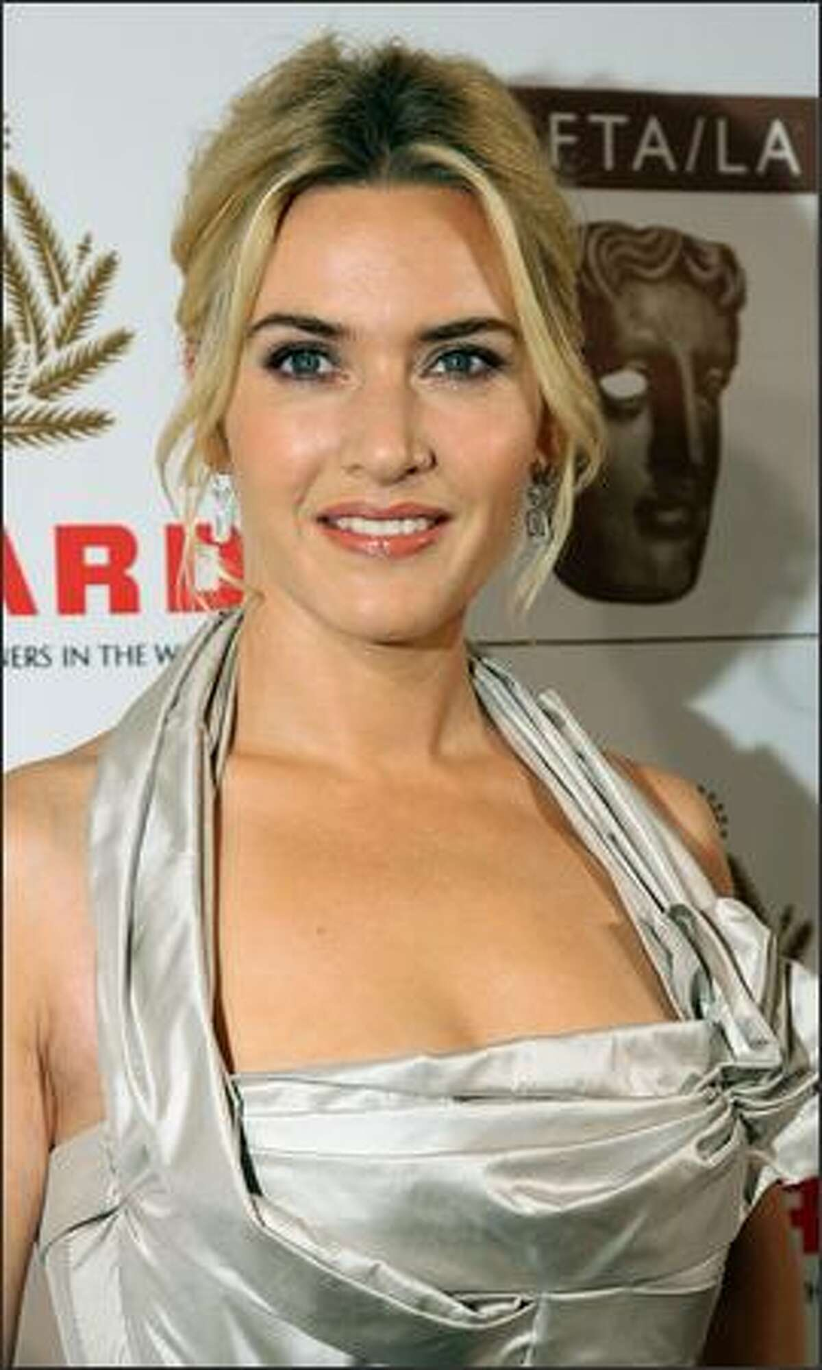 British actress Kate Winslet arrives at the British Academy of Film and Television Arts/Los Angeles (BAFTA/LA) Awards in Los Angeles, California.