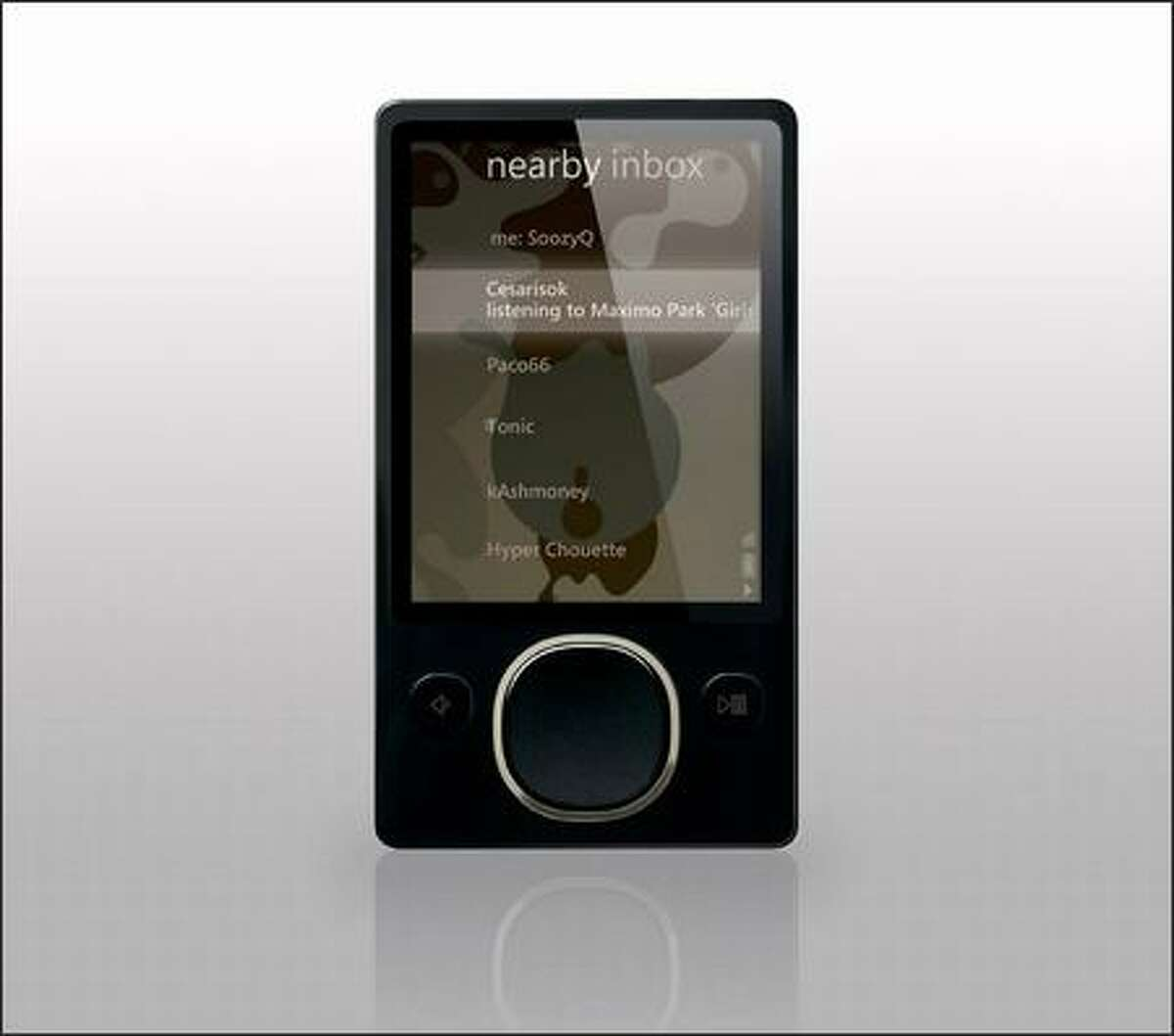The new 80GB Zune media player sports a revamped user interface.