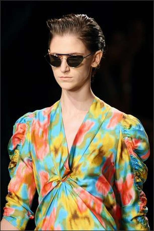 A model presents a creation by Dries Van Noten. Photo: Getty Images
