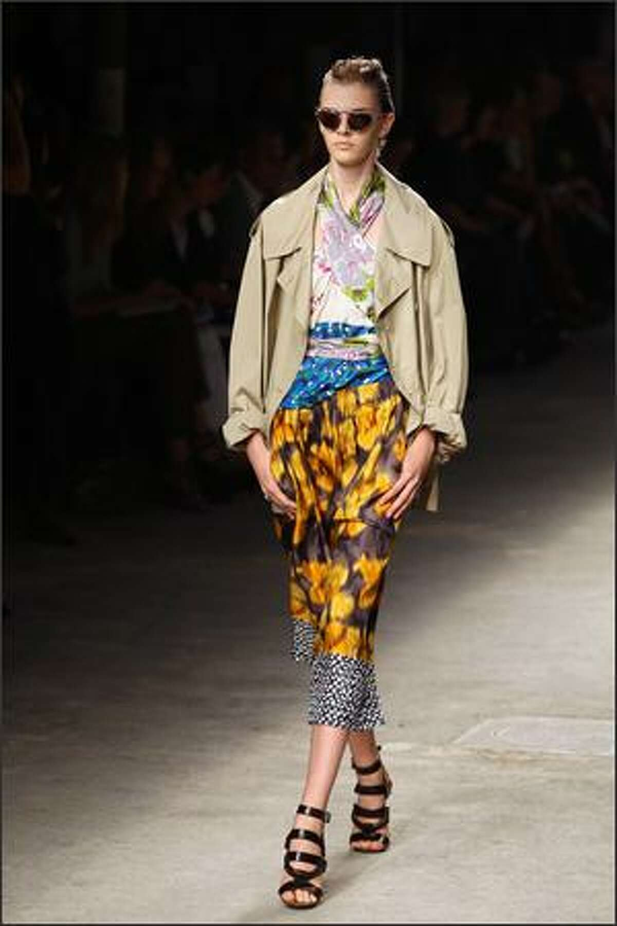 A model presents a creation by Dries Van Noten.