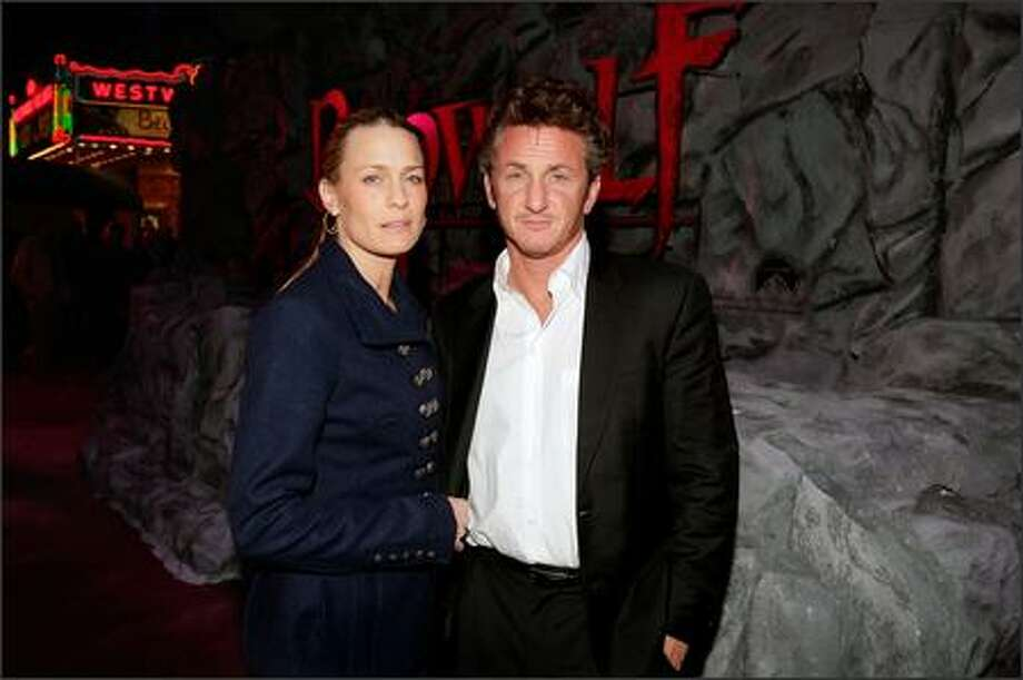 "Actors Robin Wright Penn and husband Sean Penn arrive at the premiere of Paramount Pictures' ""Beowulf"" at the Westwood Village Theatre in Los Angeles on Monday. Photo: Getty Images"