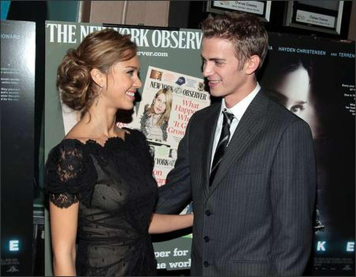 Actress Jessica Alba and actor Hayden Christensen attend the New York premiere of