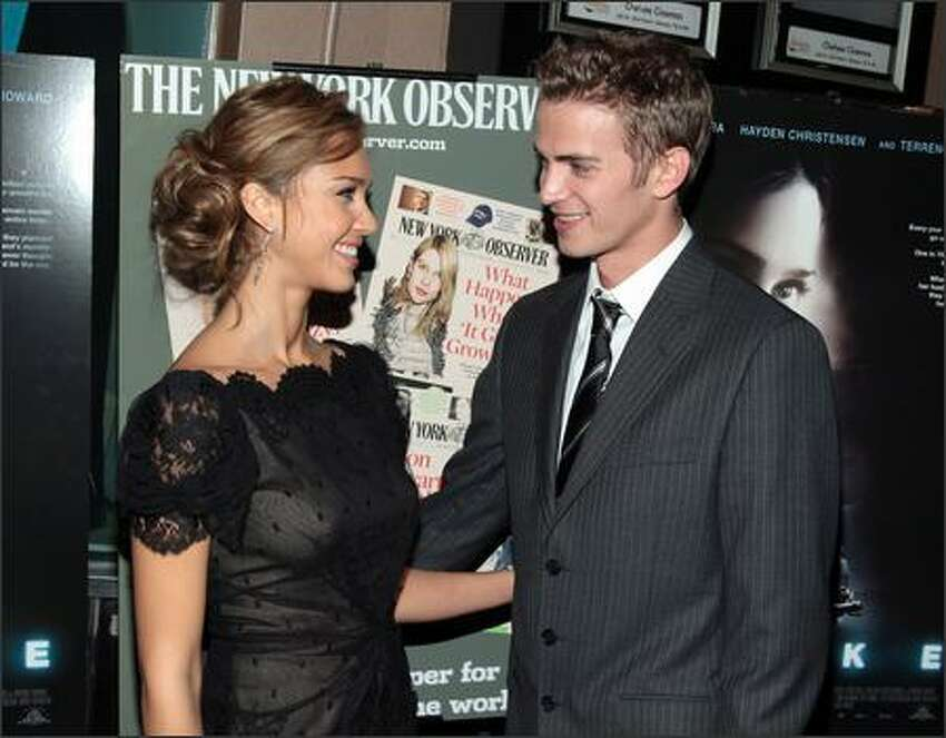 Actress Jessica Alba and actor Hayden Christensen attend the New York premiere of
