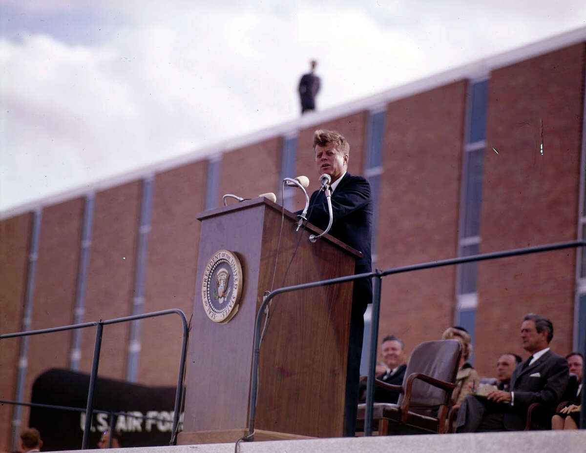 The day before he was assassinated in 1963, President John F. Kennedy used a lectern at Brooks AFB that had been specially built for the occasion.