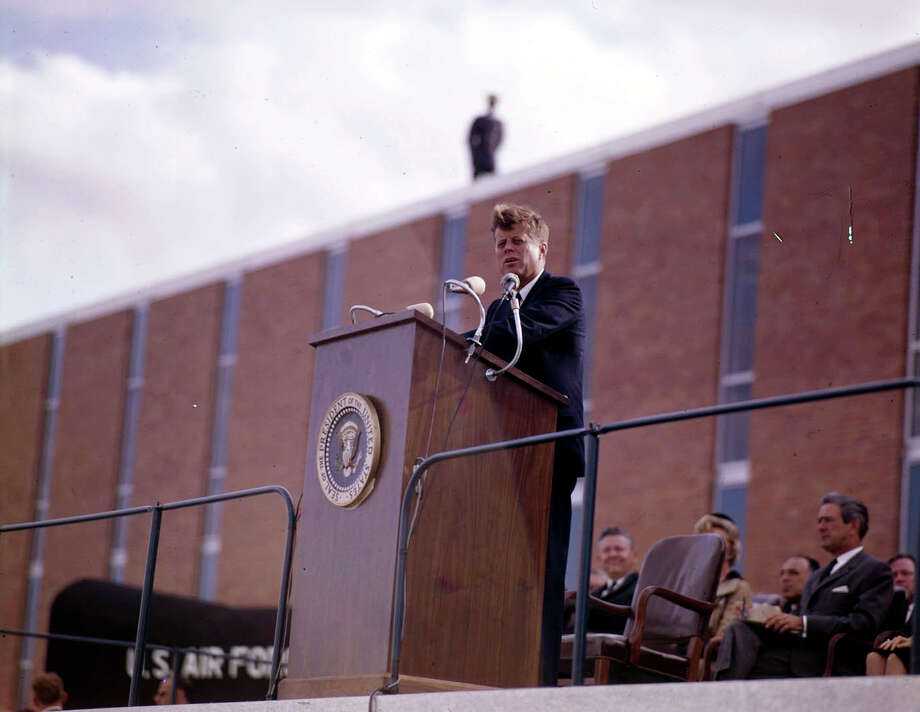 The day before he was assassinated in 1963, President John F. Kennedy used a lectern at Brooks AFB that had been specially built for the occasion. Photo: Courtesy Of Institute Of Texan Cultures