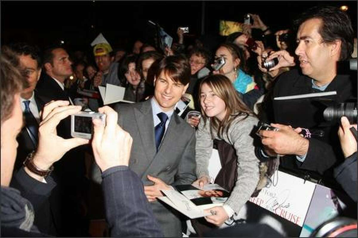 Actor Tom Cruise meets fans at The Times BFI 51st London Film Festival gala screening and world premiere of 'Lions for Lambs' at the Odeon Leicester Square in London, England.