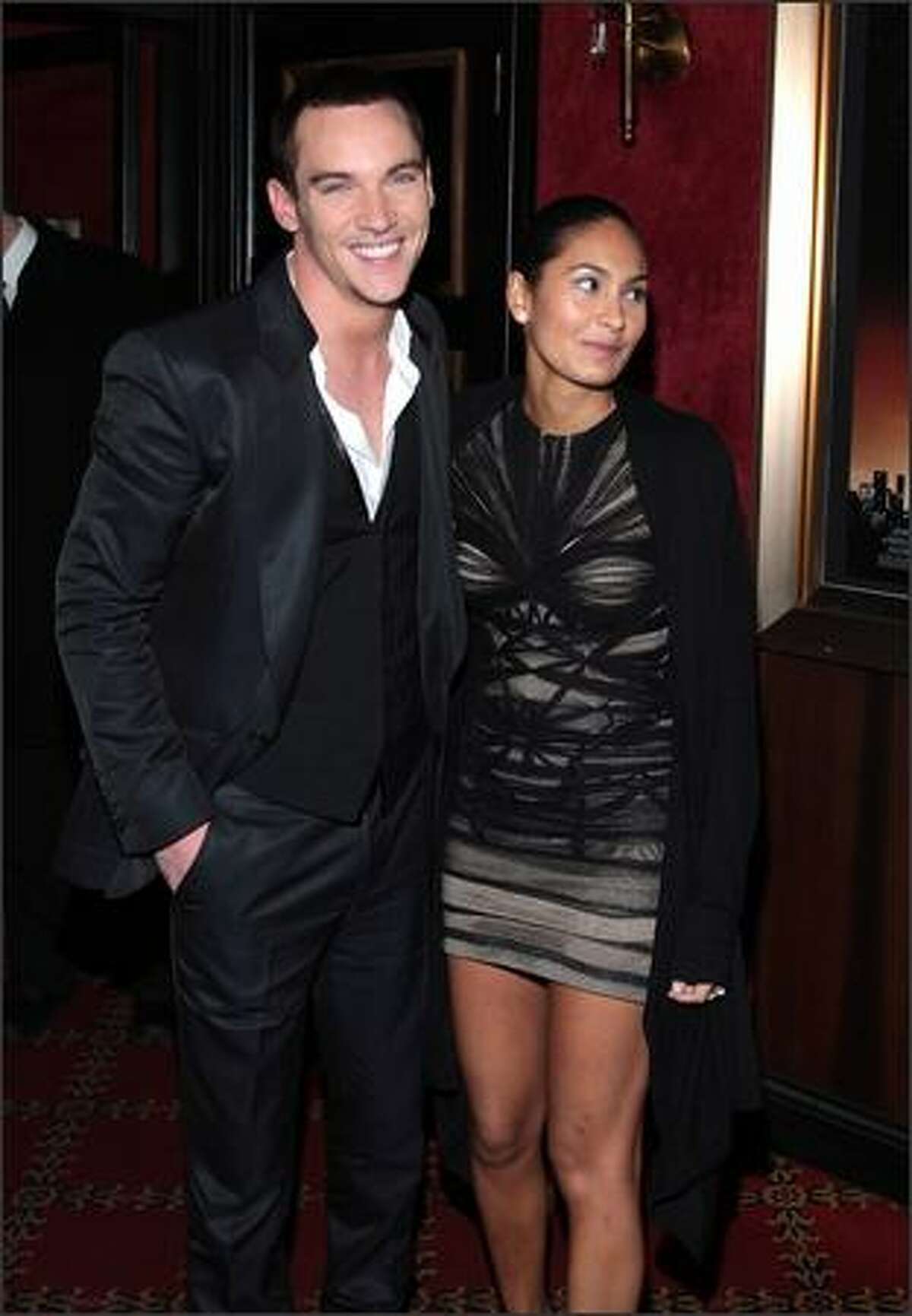 Actor Jonathan Rhys Meyers and Reena Hammer arrive at the premiere of Warner Bros. Pictures