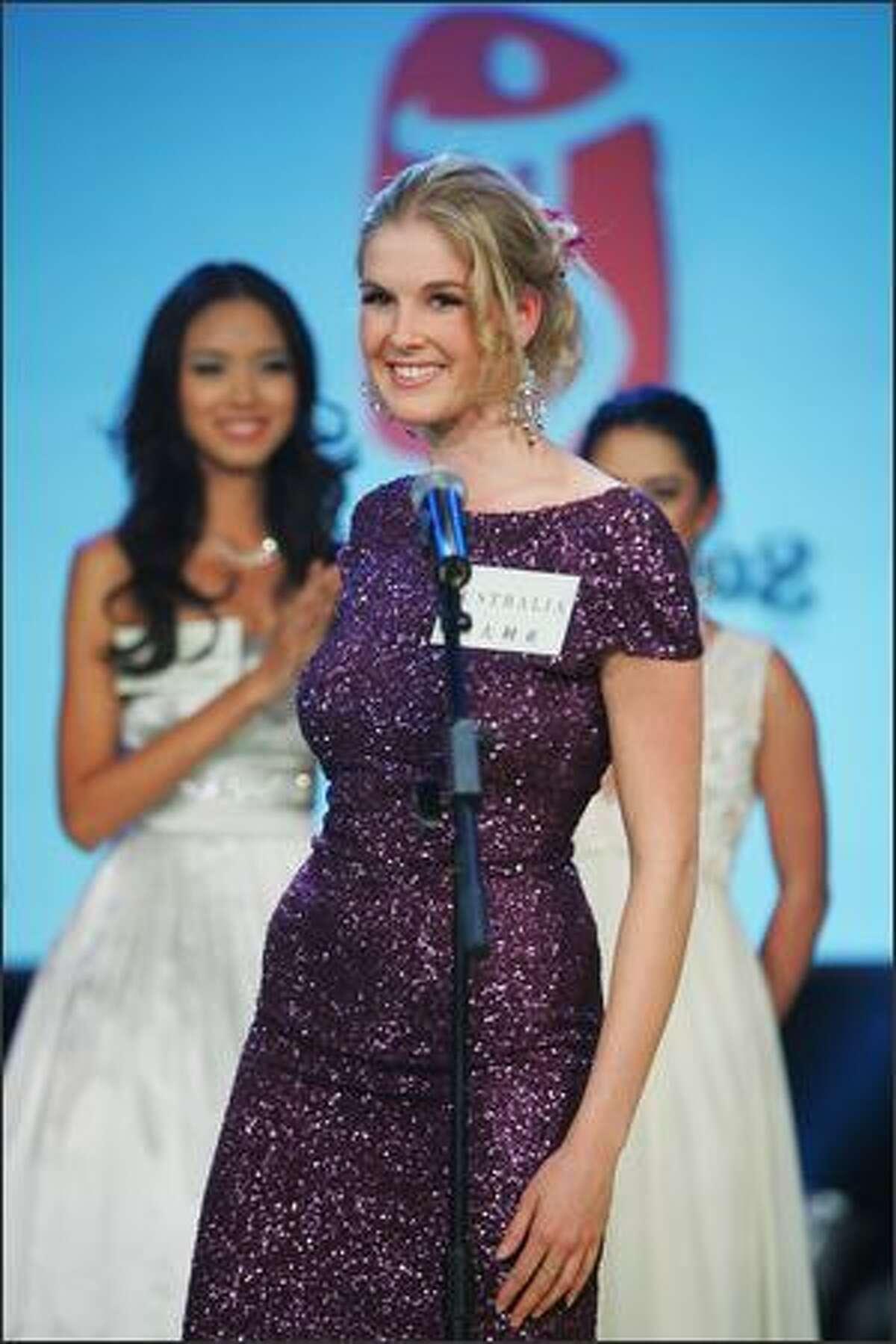 Caroline Pemberton, Miss Australia 2007, introduces herself in a TV studio.