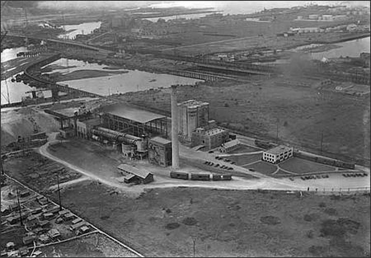 Aerial of Diamond Cement Plant looking northwest, June 16, 1938. (Charles Laidlaw)