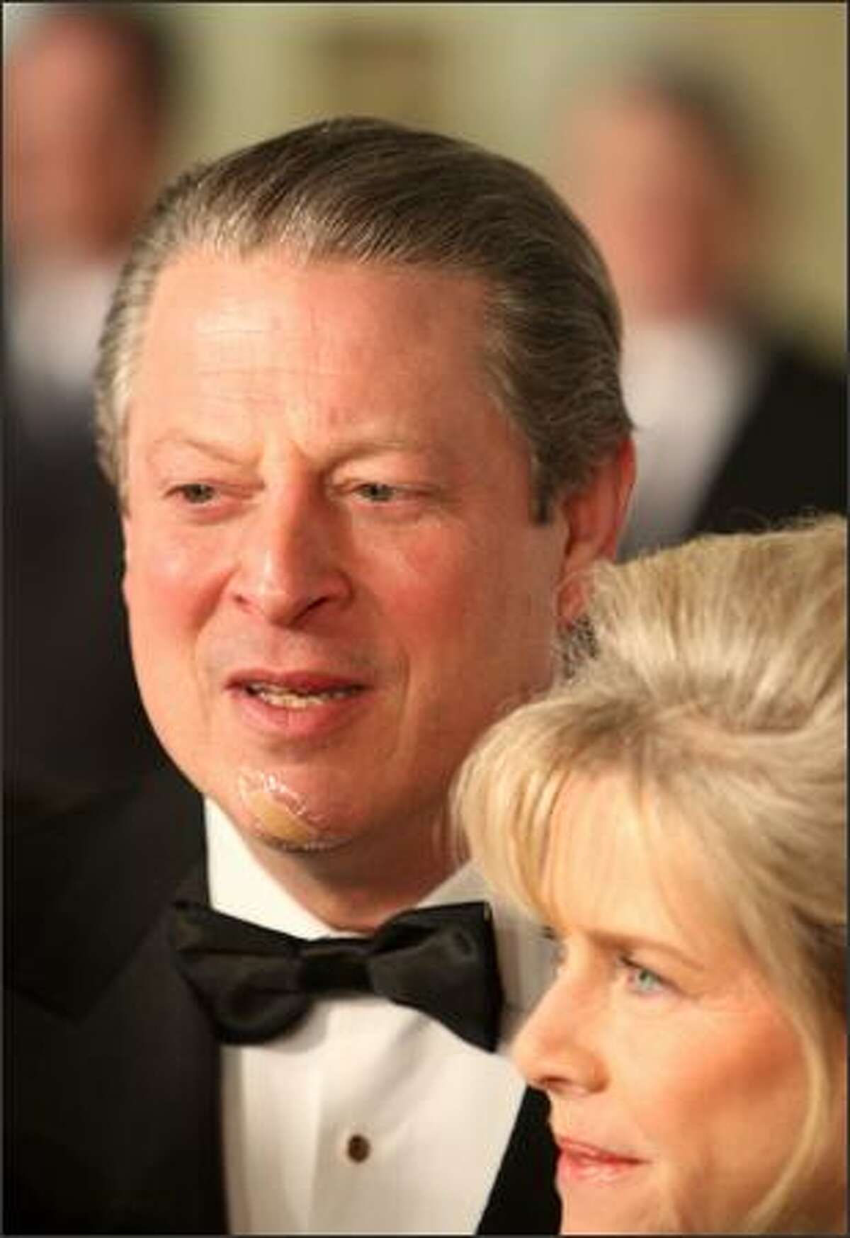 Left to right, Former US vice-president Al Gore and wife Tipper Gore attend the 35th International Emmy Awards Gala at the New York Hilton on Monday in New York City.
