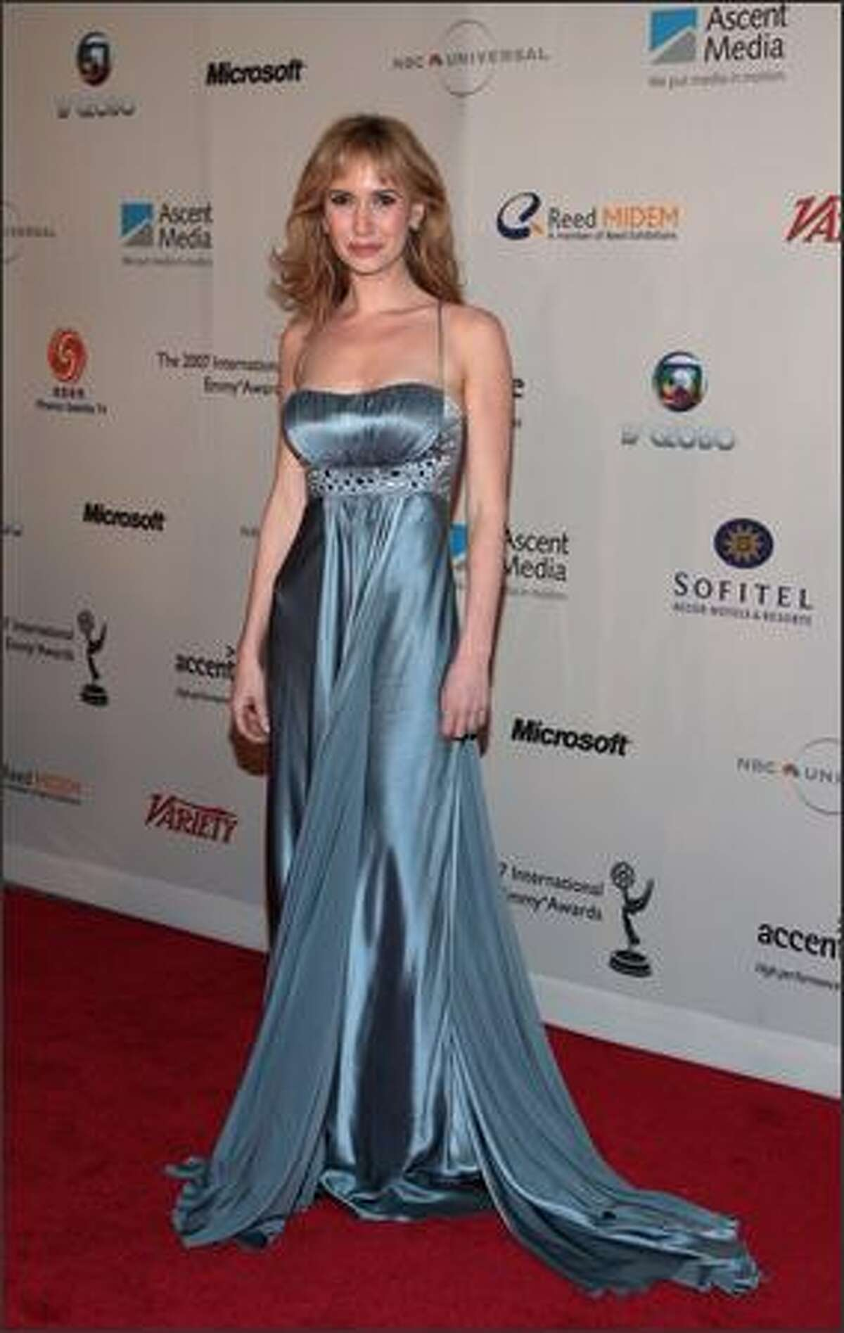 Ashley Jones attends the 35th International Emmy Awards Gala at the New York Hilton on Monday in New York City.