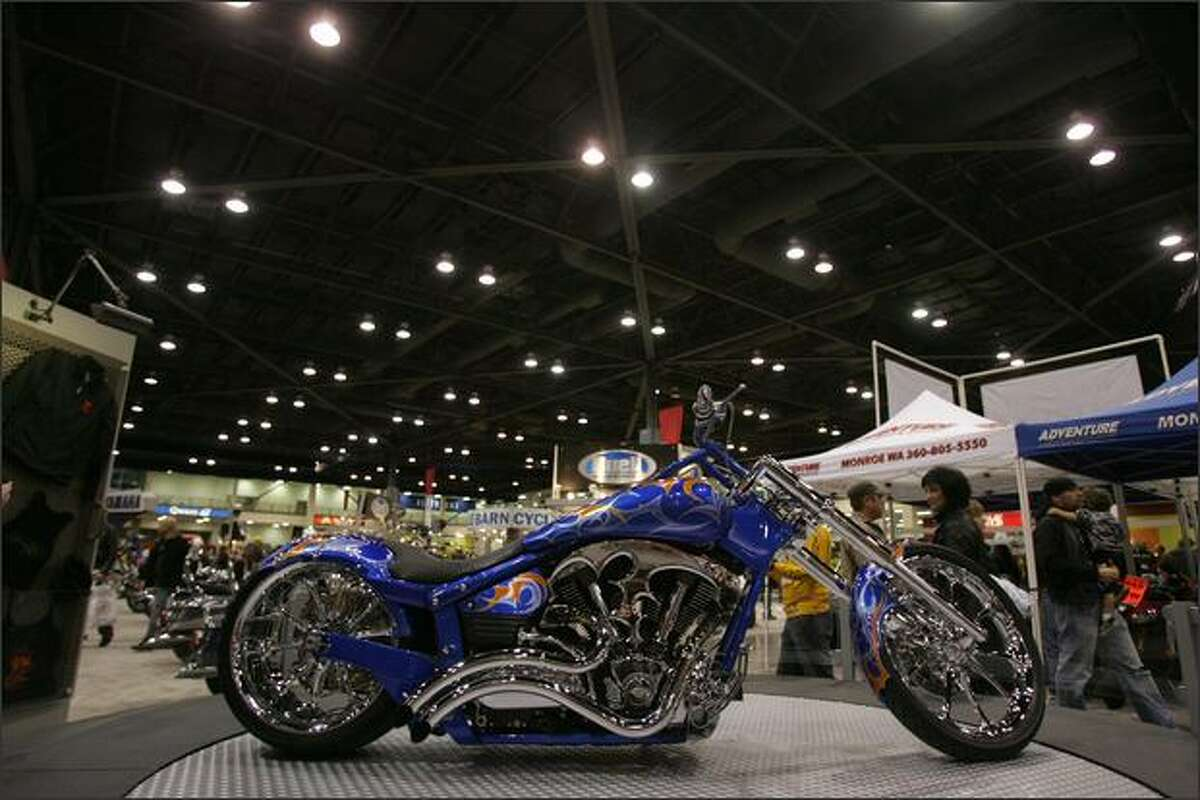 The BMS Choppers Yamaha Road Star Warrior turns on a mechanized platform during the 27th Annual Cycle World International Motorcycle Shows event.