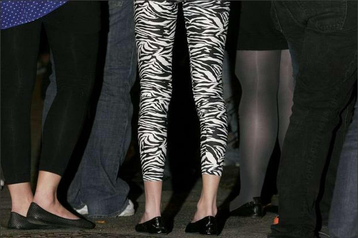 Olivia Montoya sports zebra leggings.