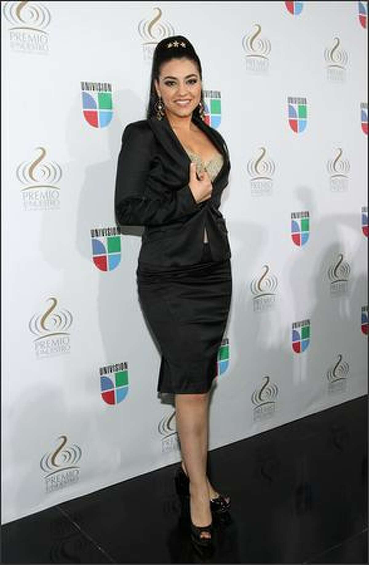 Recording artist Graciela Beltran poses at Bongos Cuban Cafe during a press conference to announce the nominees for the 2008 Premio lo Nuestro a la Musica Latina awards show at the Bongos Cuban Cafe on December 12, 2007 in Miami, Florida.