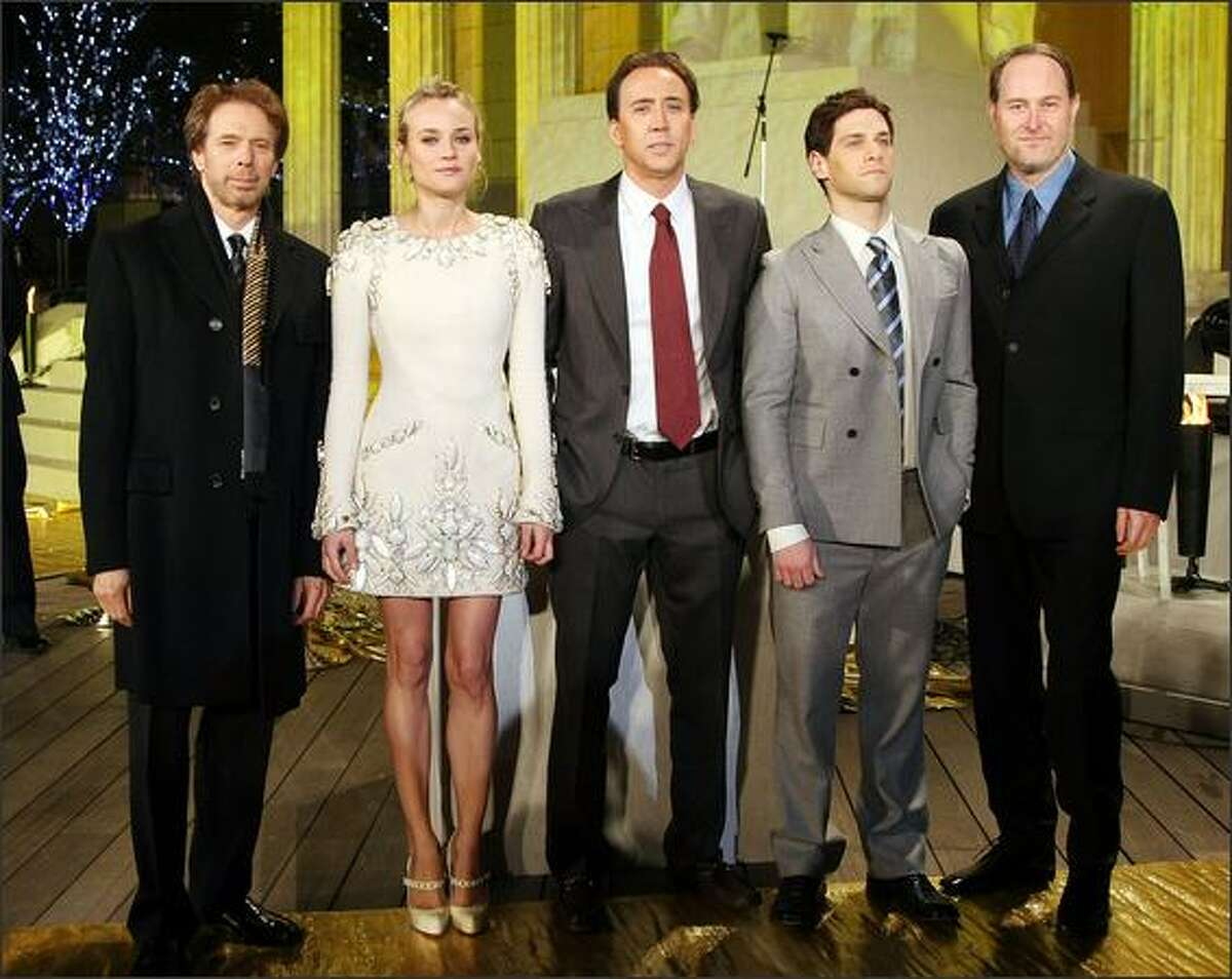 Left to right, Producer Jerry Bruckheimer, actress Diane Kruger, actor Nicolas Cage, actor Justin Bartha and director Jon Turteltaub attend the Premiere for a film