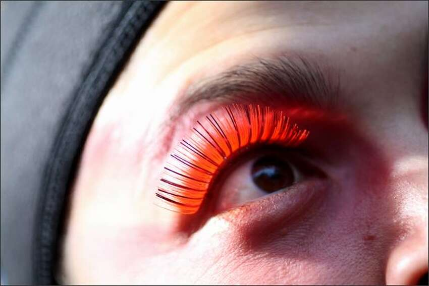 Vivid eyelashes grace all the performers, including these belonging to Beverly Thompson, playing the role of summer.