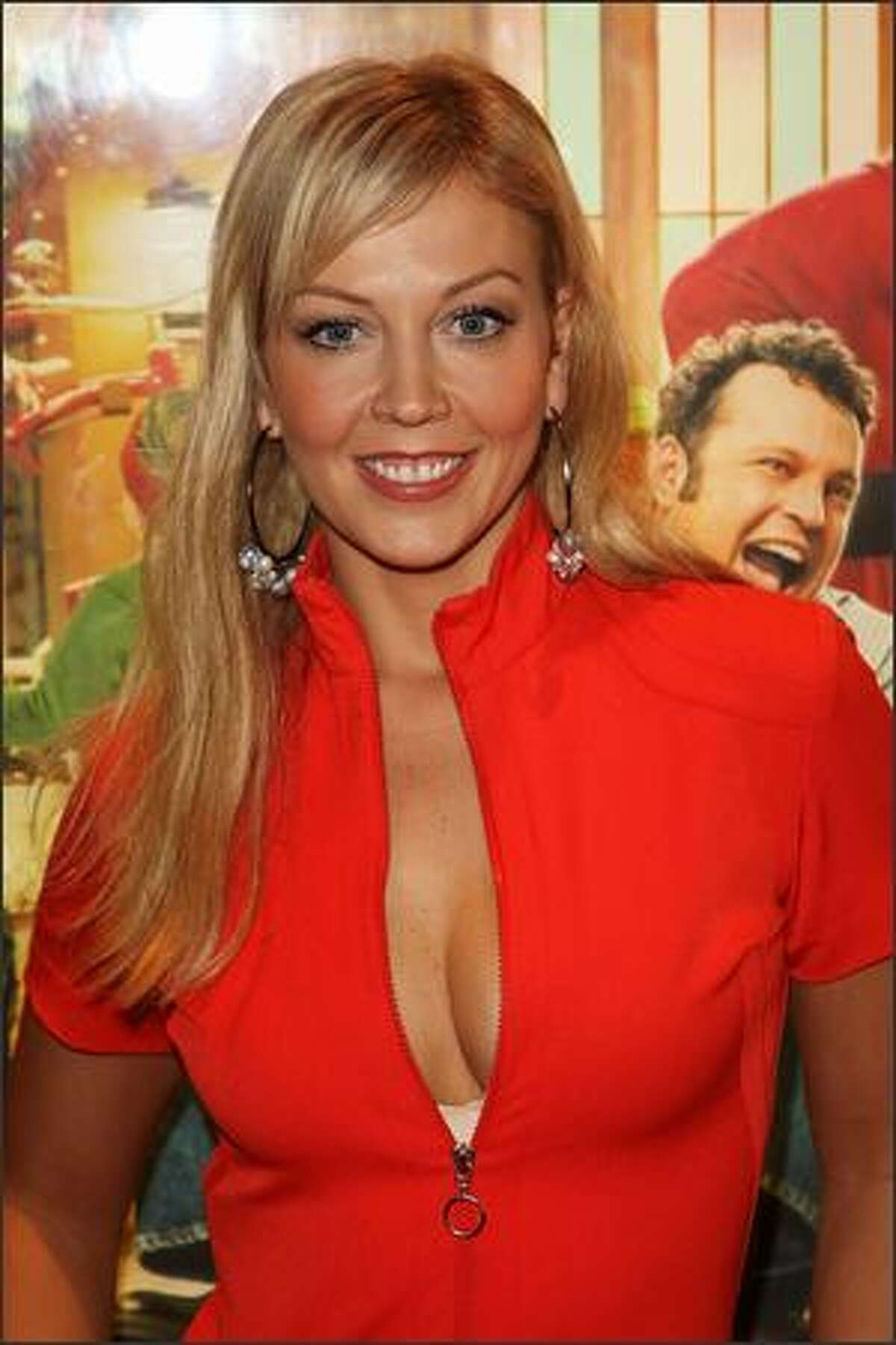 """TV presenter Liz Fuller arrives at the European premiere of """"Fred Claus"""" at the Empire Cinema Leicester Square on Monday in London, England."""