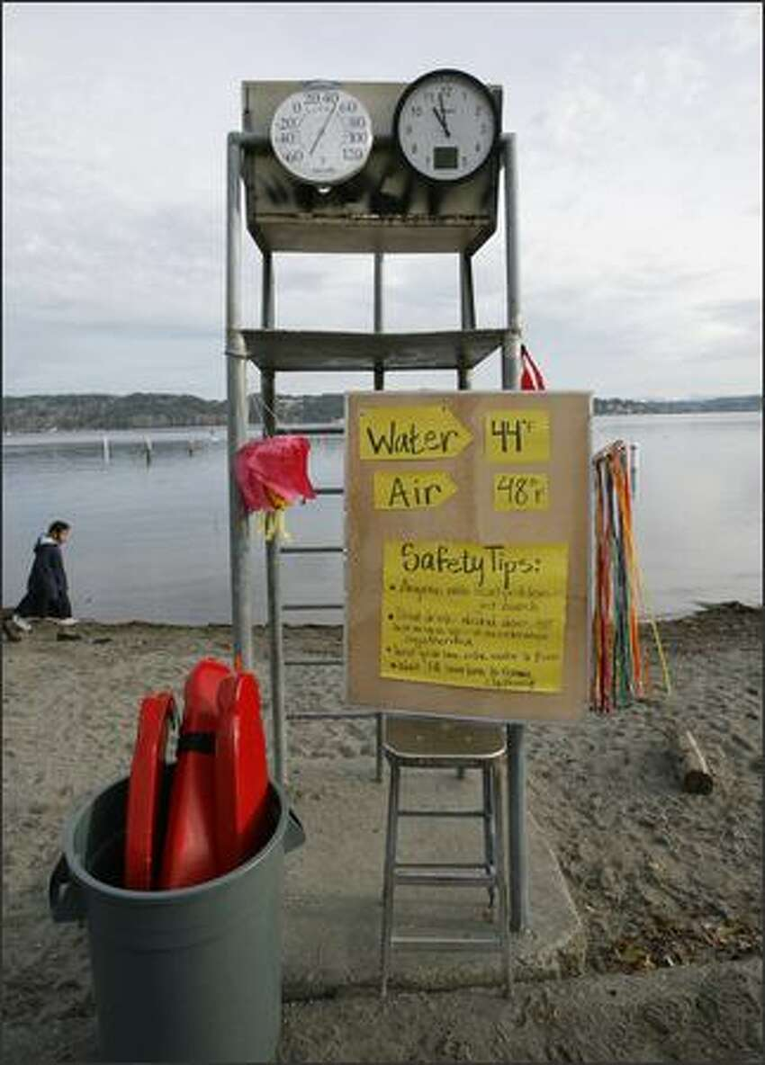 A clock ticks off the minutes while a thermometer attached to a lifeguard stand tells the air temperature for eager swimmers before the New Year's Day Sixth Annual Polar Bear Plunge on Tuesday at Matthews Beach Park in Seattle.