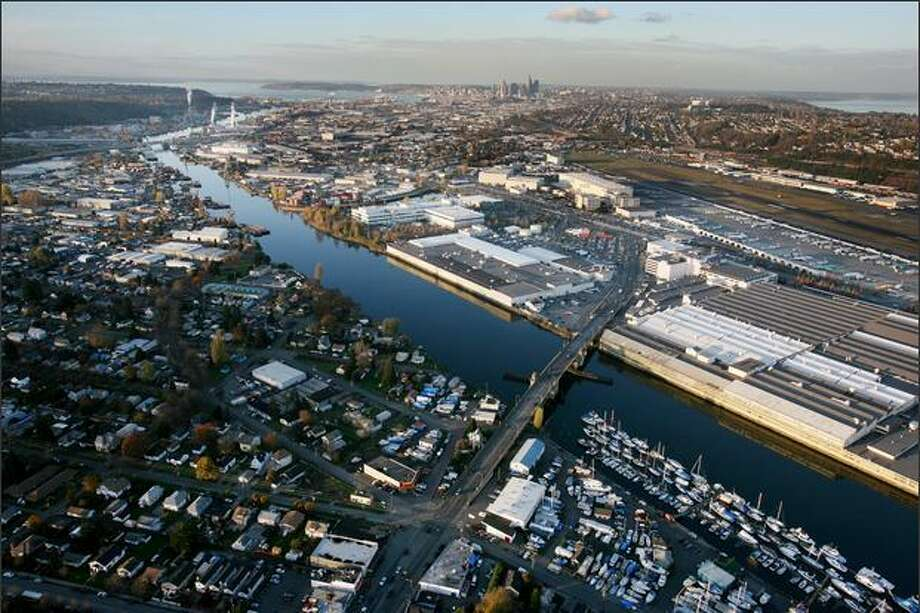Due to industrial contamination in the 20th century, the lower five miles of the Duwamish River was designated as a superfund site by the United States Environmental Agency. Boeing's Plant 2, visible at lower right on the north bank of the river on both sides of the South Park Bridge, is a heavily contaminated site. Photo: Paul Joseph Brown, Seattle Post-Intelligencer