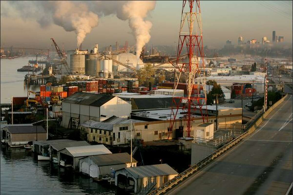 As downtown Seattle looms in the background, the city's heavy industry is concentrated along the Duwamish.