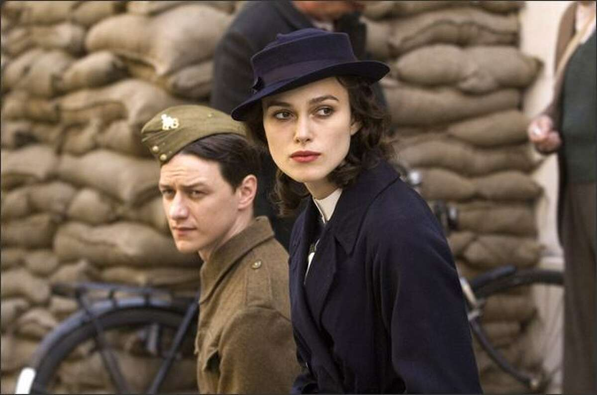 """James McAvoy (left) and Keira Knightley star in """"Atonement,"""" nominated for best motion picture -- drama."""