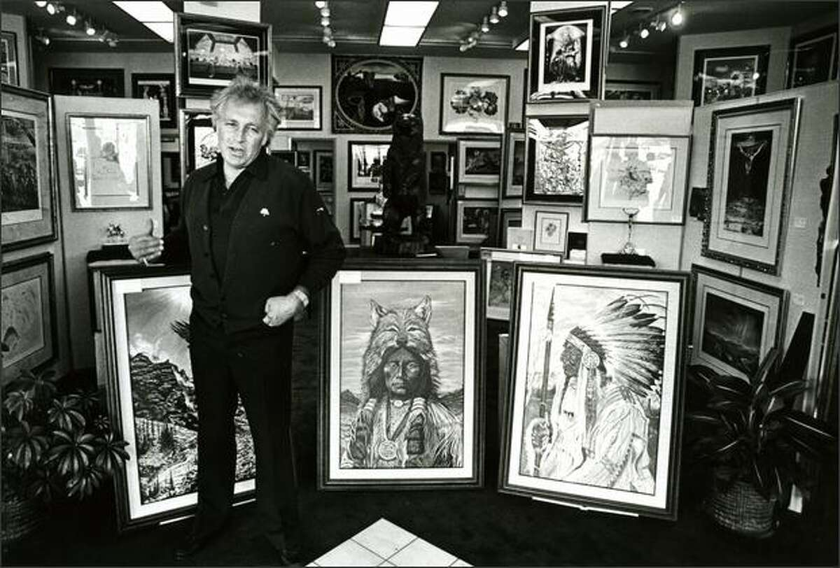Bellevue, Wash. -- Evel Knievel, known for daredevil motorcycle jumps, leaped into the art world. He is shown here with some of the 23 paintings he has on display at an art gallery in this Seattle suburb, with Salvador Dali lithographs in the background, on Sept. 24, 1983.