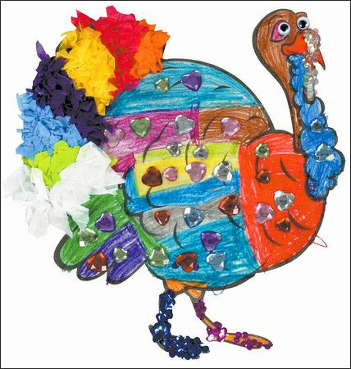 Category: Ages 5 and under. Winner: Ellen Norton of Edmonds. Judges' comments: This sparkly, colorful turkey immediately caught our eyes. The crayon coloring and creativity are exceptional for this age group.