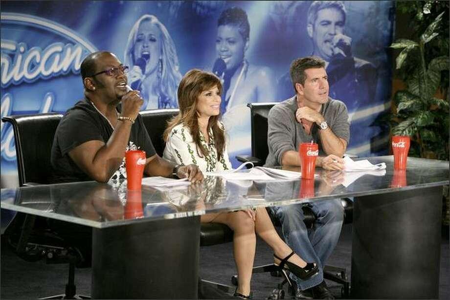 American Idol judges Randy Jackson, Paula Abdul and Simon Cowell audition San Diego candidates on July 30, 2007. Photo: Fox
