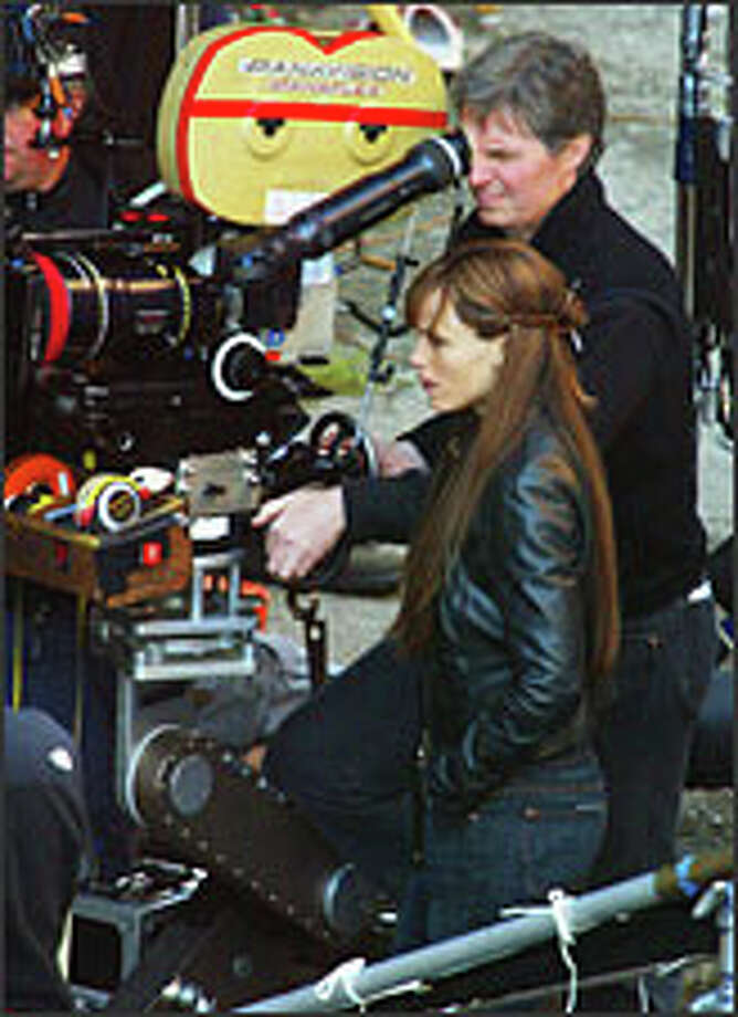 "Jennifer Garner stands beside the camera while filming on the set of ""Elektra"" in 2004 in Vancouver. Photo: JEFF VINNICK/GETTY IMAGES"