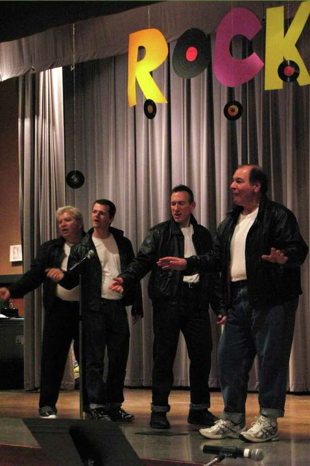 "Mike Clemens, Charles Jones, Rob Fontana, Dennis ""Mr. Smooth"" Scimeca singing ""In the Still of the Night"" at the March 5 fundraiser for the St. Pius X choir's summer tour in Bavaria, Austria and the Czech Republic. A Rock and Roll Murder Mystery,"" Parish Center, St. Pius X Church, 23 Crumitie Road, Loudonville When: 6:30 p.m. Cost: $35 advance sales only Contact: 458-7048 Notes: The St. Pius X Choir and the Mystery Dinner Theater Players present dinner theater production. Come dressed in your favorite outfit from the 1950s."