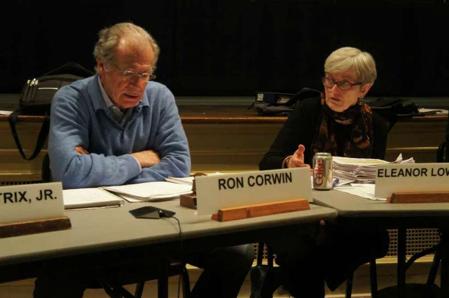 Commission Chairman Ron Corwin and Commissioner Ellie Lowenstein discuss First Selectman Gordon Joseloff's proposed senior complex at a Planning and Zoning Commission meeting on Thursday, March 17, 2011. Photo: Paul Schott / Westport News