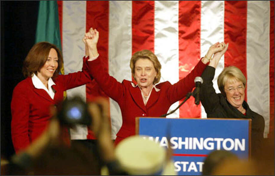 On Election Night 2004, Gov. Christine Gregoire joins hands with Sens. Maria Cantwell, left, and Patty Murray during the Democratic Party celebration at Seattle's Westin Hotel. It was the first time in American history that three women held the most powerful elected offices of a state.he Democratic governor for governor, joins hands with Washington's Democratic Sens. Maria Cantwell, left, and Patty Murray during an election party at the Westin Hotel.  Murray was re-elected. Photo: Scott Eklund/Seattle Post-Intelligencer