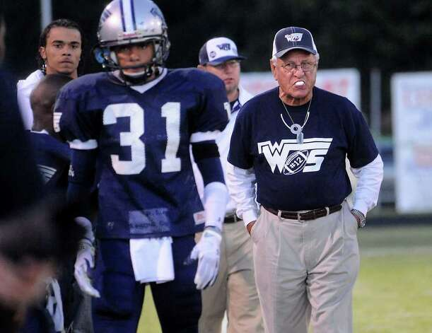 WO-S coach, Dan R. Hooks walks the sidelines chewing gum during the game against Kirbyville at West Orange-Stark High School in West Orange, Saturday. Tammy McKinley/The Enterprise Photo: TAMMY MCKINLEY, MBR / Beaumont