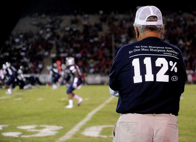 WOS coach Dan R. Hooks watches the game against Kirbyville from the sidelines at West Orange-Stark High School in West Orange, Saturday. Tammy McKinley/The Enterprise Photo: TAMMY MCKINLEY, MBR / Beaumont