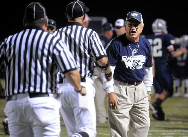 WOS coach Dan R. Hooks has a word with the refs during the game against Kirbyville at West Orange-Stark High School in West Orange, Saturday. Tammy McKinley/The Enterprise Photo: TAMMY MCKINLEY, MBR / Beaumont